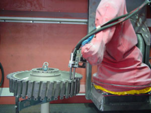 Industrial robot in operation
